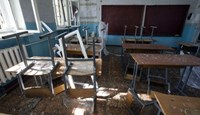 A view of a classroom of school No. 57 damaged by recent shelling in Donetsk, eastern Ukraine, October 1, 2014.