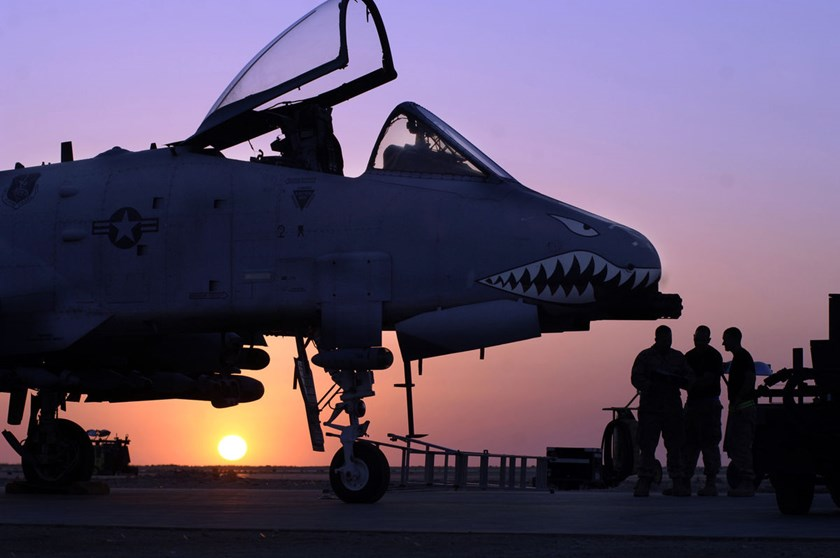An A-10 Warthog sits at the Al Asad Air Base in Iraq.