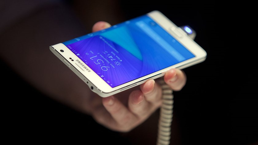 The new Samsung Electronics Co. Galaxy Note Edge smartphone is displayed for the media in New York, on Sept. 3, 2014.