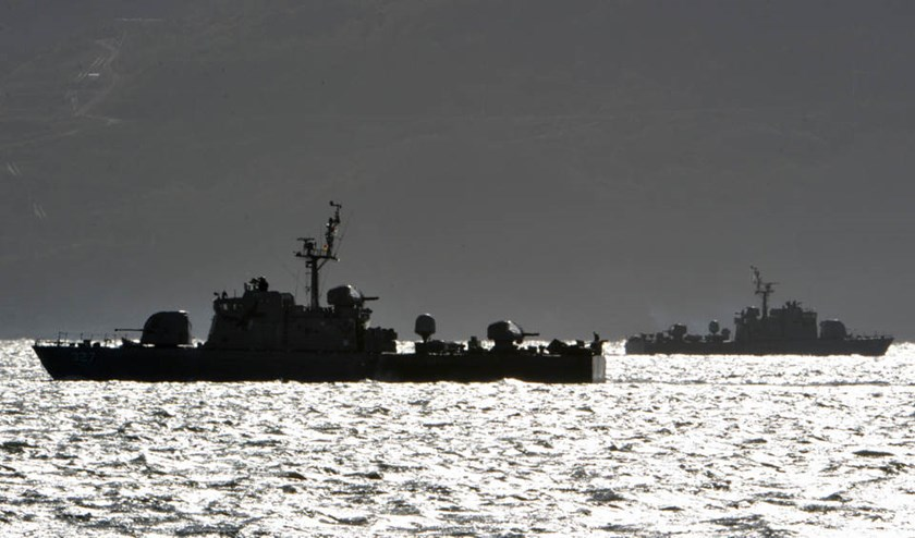 In this file photo, South Korean navy vessels are seen patrolling near Yeonpyeong island, on November 25, 2010