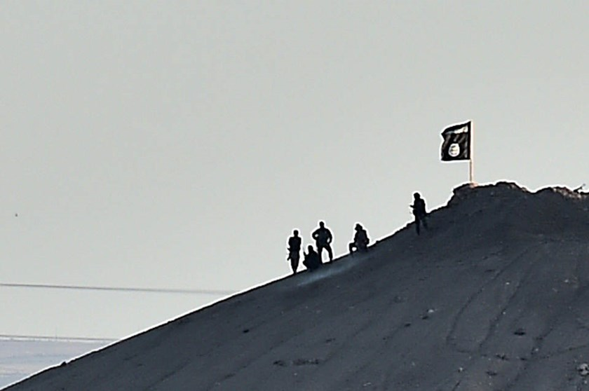 Alleged Islamic State (IS) group militants stand next to an IS flag atop a hill in the Syrian town of Ain al-Arab, known as Kobane by the Kurds, on October 6, 2014