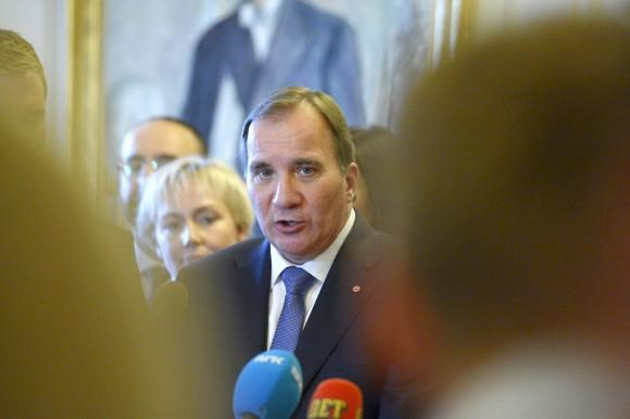 Swedish Prime Minister Stefan Lofven gives a news conference after his government declaration at the Swedish parliament Riksdagen in Stockholm, October 3, 2014.