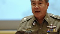 Chief of Royal Thai Police General Somyot Poompanmuang addresses reporters in Bangkok October 7, 2014.