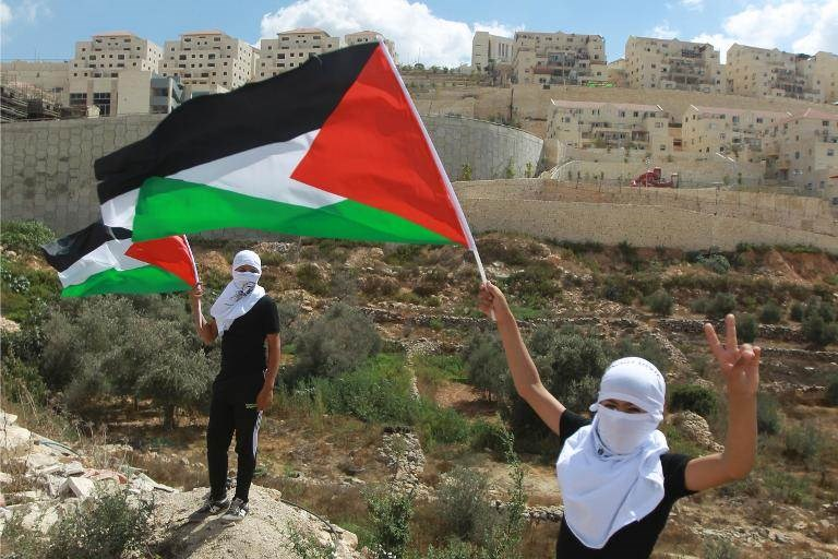 Palestinian protesters wave the national flag in front of the Israeli settlement of Beitar Illit, during a demonstration on September 26, 2014