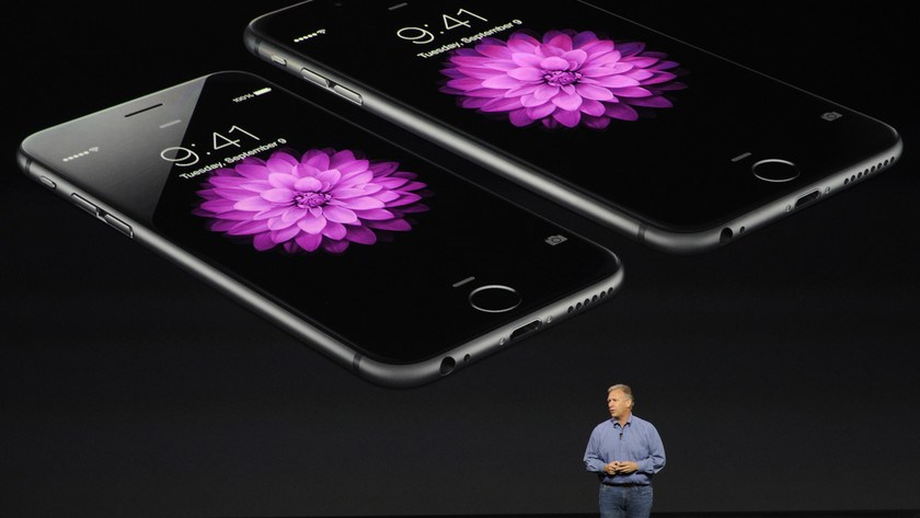 "Philip ""Phil"" Schiller, senior vice president of worldwide marketing at Apple Inc., speaks about the iPhone 6 and iPhone 6 Plus during a product announcement at Flint Center in Cupertino on Sept. 9, 2014."