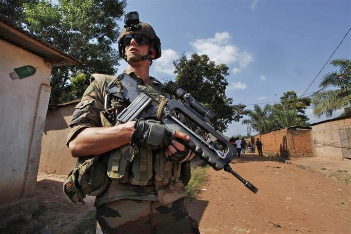 A French soldier patrols in Bangui, Central African Republic