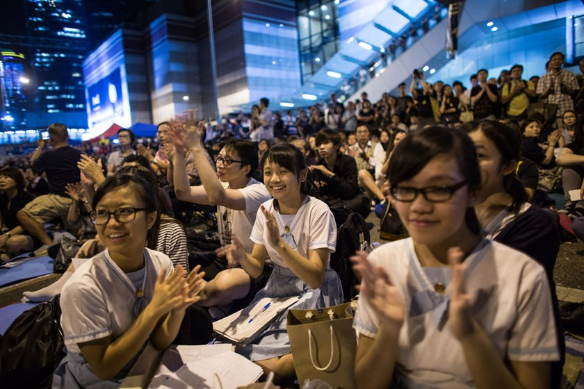 Demonstrators gather in Hong Kong, on Oct. 10, 2014.