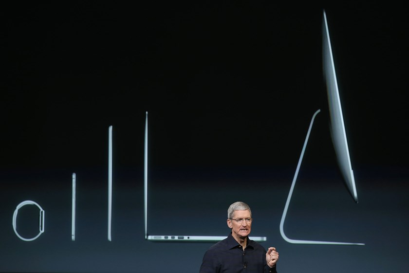 Apple CEO Tim Cook during an event introducing new iPads at Apple's headquarters on Oct. 16, 2014 in Cupertino, California.
