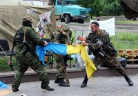 Pro-Russian fighters of Vostok (east) battalion rip apart a Ukrainian flag outside a regional state building in the eastern Ukrainian city of Donetsk on May 29, 2014.