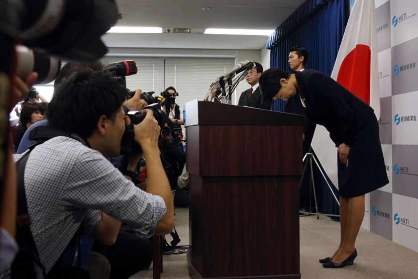 Yuko Obuchi, Japan's economy, trade and industry minister, bows during a news conference in Tokyo on Oct. 20, 2014.
