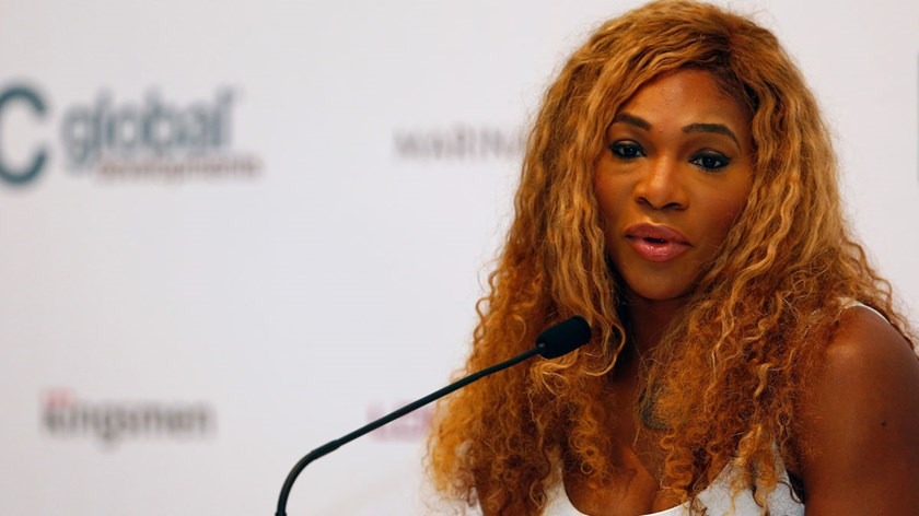 Serena Williams of the U.S. talks to the media during previews for the WTA Finals at the ArtScience Museum in Singapore, on Oct. 19, 2014.
