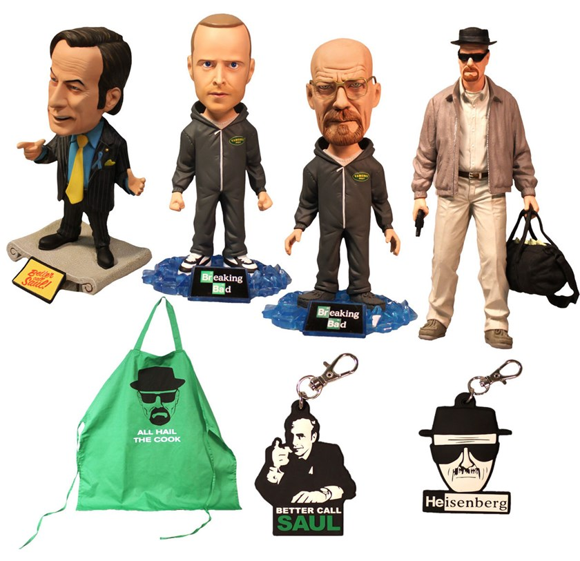 The Breaking Bad product line, made by Mezco Toyz LLC, features characters from the popular show, a drama about a chemistry teacher who turns into a drug kingpin that aired on AMC until last year.