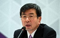Asian Development Bank (ADB) President Takehiko Nakao addresses a press conference in Greater Noida on May 5, 2013