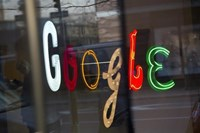 The Google signage is seen at the company's offices in New York January 8, 2013.