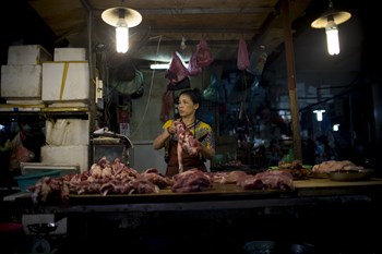 A vendor stands at stall selling pork at Cho Hom market in Hanoi, Vietnam. Vietnam is set to consume 33 kilograms of pork per person by 2020, more than 32.6 kilograms in China and 31.3 kilograms in the European Union, according to data on the website of t