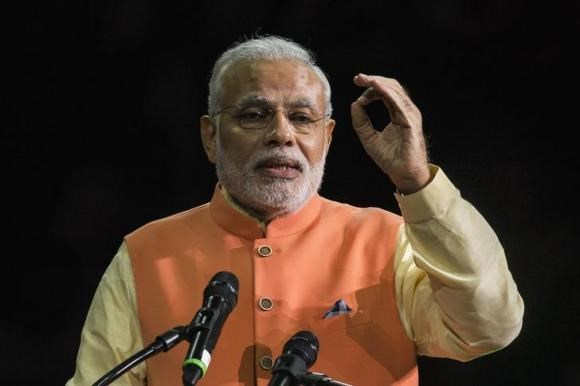 India's Prime Minister Narendra Modi speaks at Madison Square Garden in New York, during his visit to the United States, September 28, 2014.