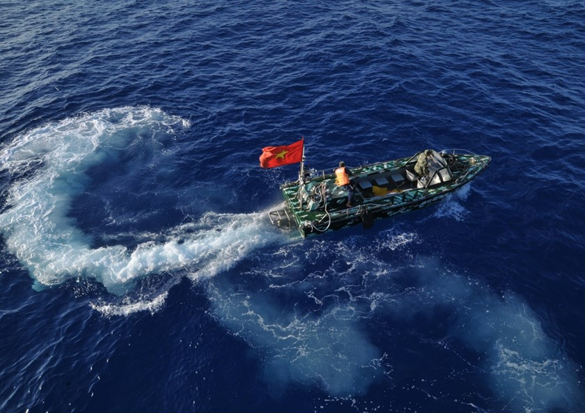 A Vietnamese Navy boat patrols in the waters of Spratly Islands