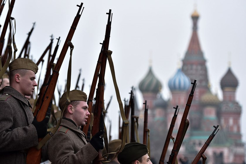 Russian soldiers wearing World War II-era Red Army uniforms take part in a military parade general rehearsal, in Moscow.