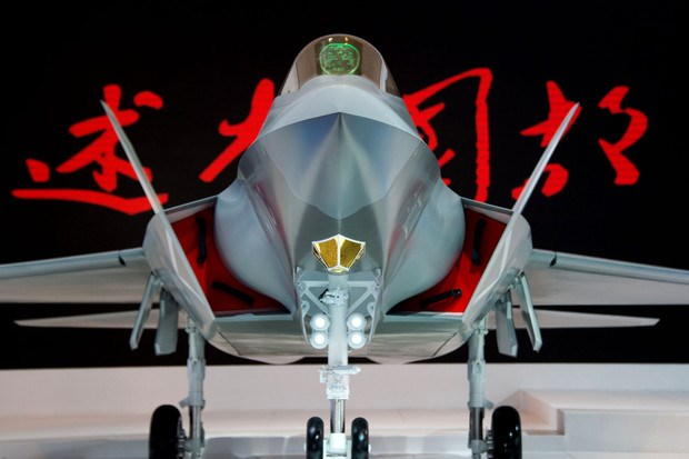 A model of a Chinese J-31 stealth fighter of AVIC is pictured at the Airshow China 2014 in Zhuhai, China, on Nov. 12, 2014.