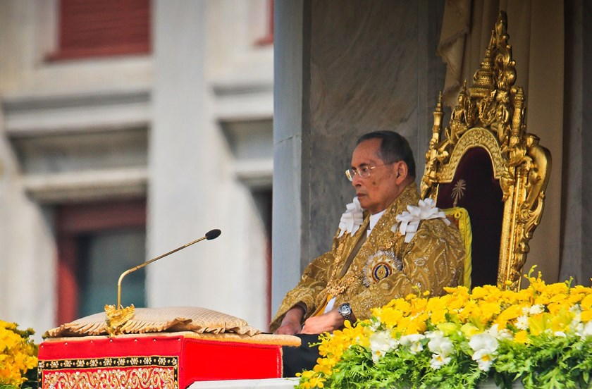 Thailand's King Bhumibol Adulyadej makes a rare public appearance on the occasion of his 85th birthday in Bangkok, Thailand, on Dec. 5, 2012. Under Thailand's constitutional monarchy, the king is head of state while the prime minister and parliament gover