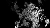 A probe named Philae is seen after it landed on a comet, known as 67P/Churyumov-Gerasimenko, in this CIVA handout image released November 13, 2014.