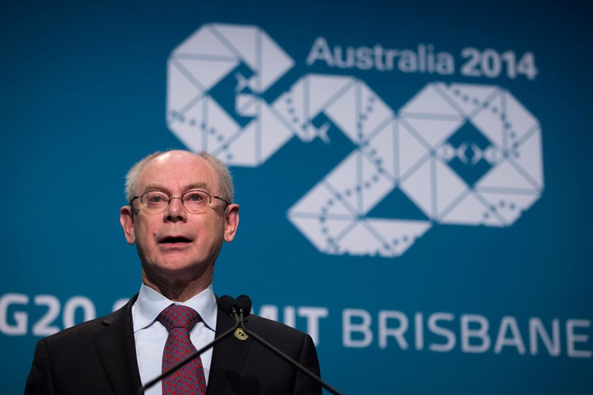 Herman Van Rompuy, president of the European Union (EU), speaks during a news conference at the Group of 20 (G-20) summit in Brisbane, Australia, on Saturday, Nov. 15, 2014.