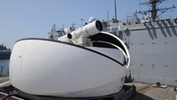 The prototype weapon is an improved version of the Laser Weapon System (LaWS) pictured here aboard the USS Dewey in 2012.