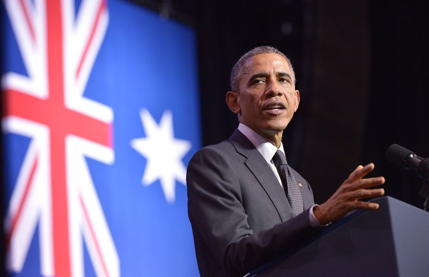 US President Barack Obama speaks at the University of Queensland on the sidelines of the G20 Summit in Brisbane on November 15, 2014