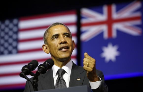 U.S. President Barack Obama speaks at the University of Queensland in Brisbane November 15, 2014.