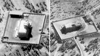 Pictures show the Islamic State command centre in Raqqa, Syria, before (left) and after it was struck by bombs dropped by an F-22 fighter jet. Photo: Reuters