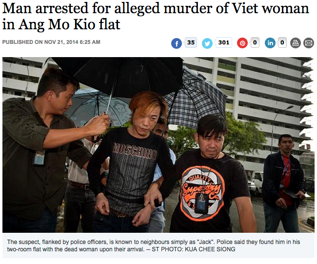 The Straits Times report the suspected murder of a Vietnamese woman in Singapore