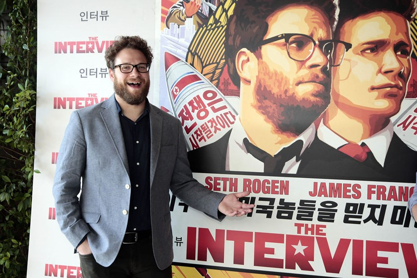 "Seth Rogen poses during a photocall for his latest film ""The Interview"" in Barcelona, Spain, on June 18, 2014. The Seth Rogen film, due in theaters on Dec. 25, features Rogen and James Franco as TV producers who are recruited by the Central Intelligence A"