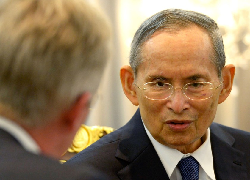 King Bhumibol Adulyadej of Thailand, right, meets with Prince Philippe of Belgium, left, in Bangkok, Thailand, on March 22, 2013.