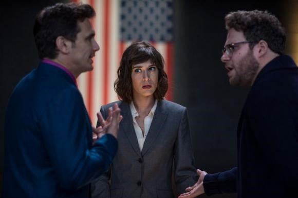 Lacey, played by Lizzy Caplan with Dave, played by James Franco, and Aaron, played by Seth Rogen, in Columbia Pictures' The Interview.