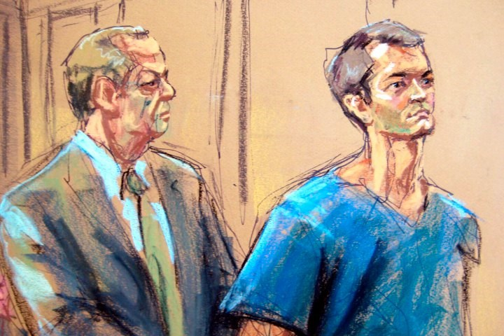 Lawyer Joshua Dratel (left) with Ross Ulbricht at his initial court appearance in February.