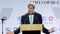 U.S. Secretary of State John Kerry delivers a speech at the U.N. Climate Change Conference COP 20 in Lima December 11, 2014.