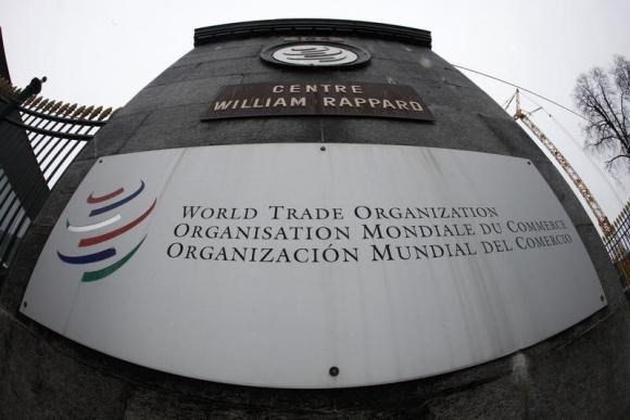 The World Trade Organization WTO logo is seen at the entrance of the WTO headquarters in Geneva April 9, 2013.