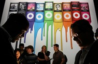 An ad showing the the new iPod Nano during an Apple in San Francisco.