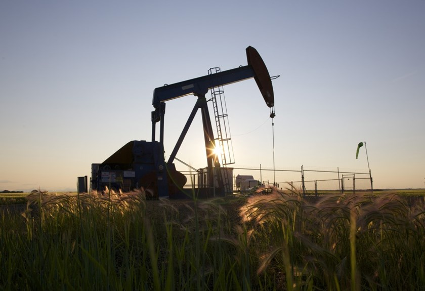 An oil pump jack pumps oil in a field near Calgary, Alberta, July 21, 2014. Pump jacks are used to pump crude oil out of the ground after an oil well has been drilled.