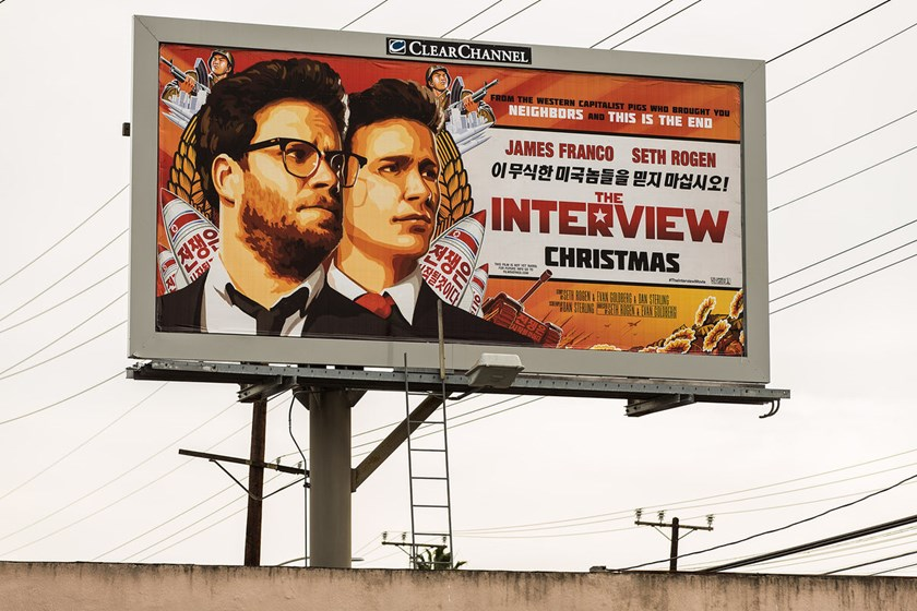 "A billboard for the film ""The Interview"" is displayed in Venice, California on Dec. 19, 2014."