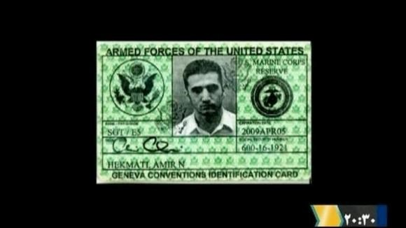 The armed forces identification card of Iranian-American Amir Mirza Hekmati is seen in this undated still image taken from video in an undisclosed location made available to Reuters TV on January 9, 2012.