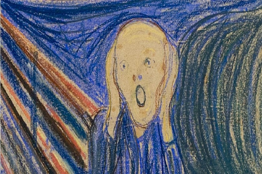 Norwegian artist Edvard Munch's 1895 pastel on board version of 'The Scream' at Sotheby's auction house in central London.