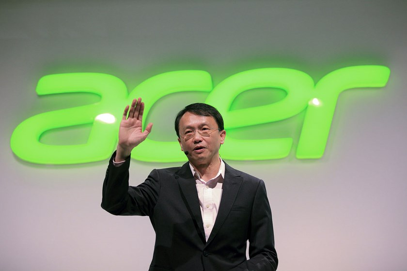 Jason Chen, Chief Executive Officer of Acer Inc., gestures whilst speaking during a news conference at the IFA Consumer Electronics Fair in Berlin, Germany, on Sept. 3, 2014.