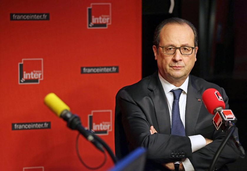 French President Francois Hollande during a live interview on January 5, 2015 in Paris