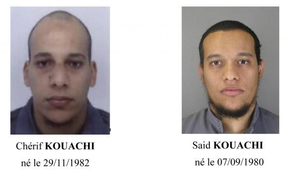 A call for witnesses released by the Paris Prefecture de Police January 8, 2015 shows the photos of two brothers Cherif Kouachi (L) and Said Kouachi, who are considered armed and dangerous, and are actively being sought in the investigation of the shootin