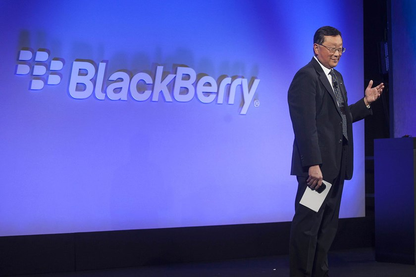 John Chen, chief executive officer of BlackBerry Ltd., speaks during the unveiling of the Classic smartphone at an event in New York, U.S., on Dec. 17, 2014.