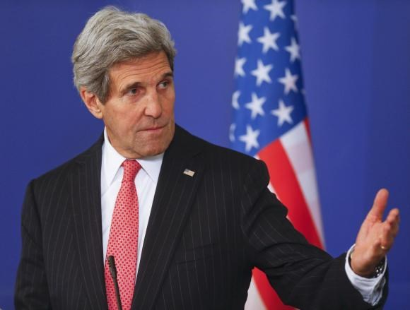 U.S. Secretary of State John Kerry speaks to media after talks with Bulgarian Prime Minister Boiko Borisov in Sofia, January 15, 2015.