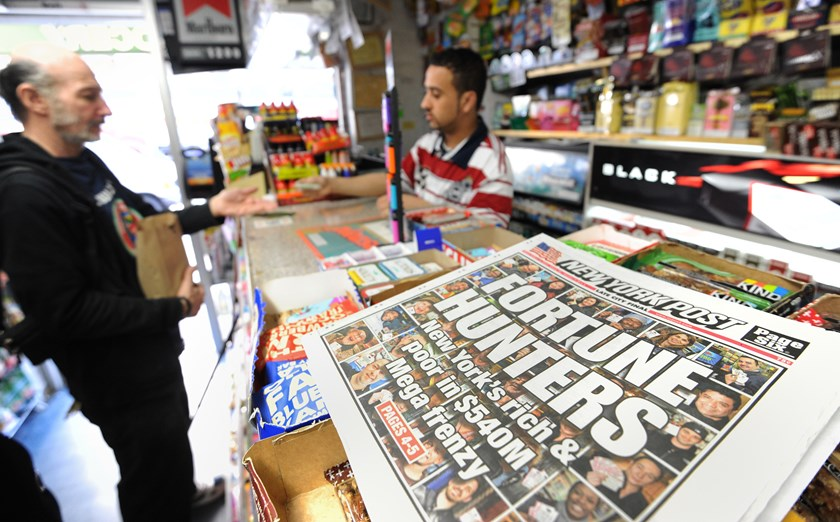 A New York Post headline about the Mega Millions lottery as tickets are sold at a convenience store on the east side of Manhattan.