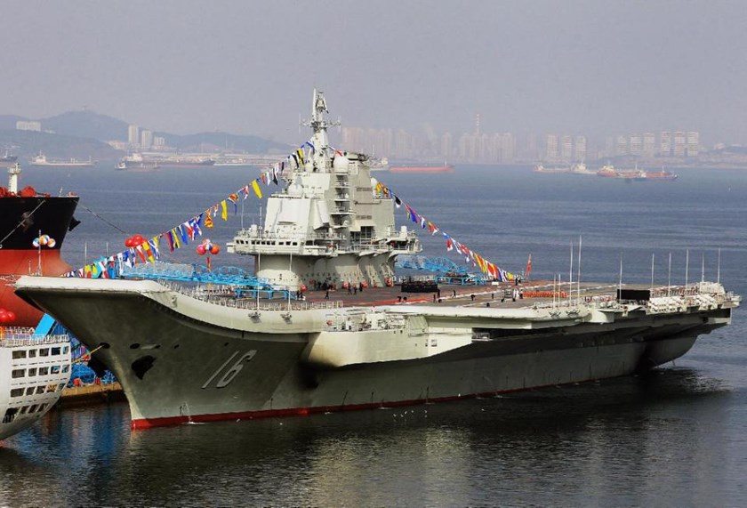 This photo taken on September 24, 2012 shows China's first aircraft carrier, a former Soviet carrier called the Varyag, docked after its handover to the People's Liberation Army (PLA) navy in Dalian, northeast China's Liaoning province