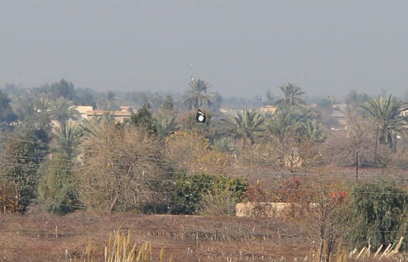 Islamist flag flying in fields in the area of Sayed Ghareeb, some 70 kilometres north of Baghdad, Iraq, on January 2, 2015